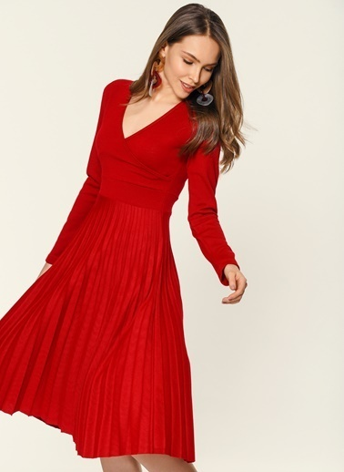 Loves You Piliseli Kruvaze Örme Elbise Kırmızı